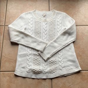 J. Crew Off-White Popcorn Cable Knit Sweater Small